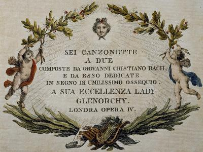 Title Page of Six Songs for Two Voices with Dedication to Lady Glenorci, Opera IV-Carl Philipp Emanuel Bach-Giclee Print