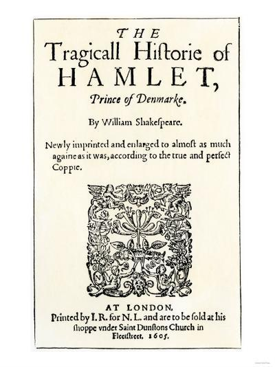 Title Page of the 1605 Hamlet by William Shakespeare--Giclee Print