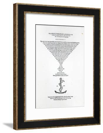 Title Page of the Adages of Erasmus, Printed by Aldus Manutius in Venice, 1508--Framed Giclee Print