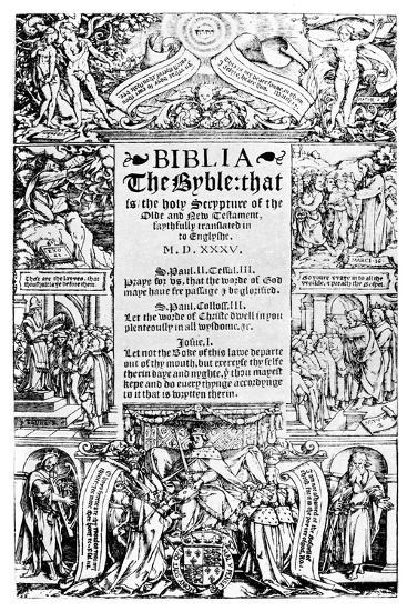 Title Page of the Coverdale Bible, 1535--Giclee Print