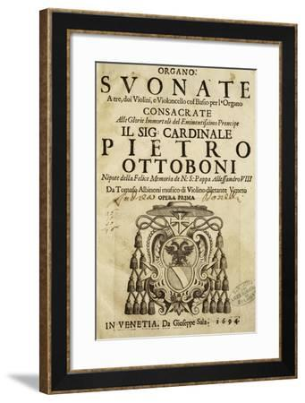 Title Page of the First Venetian Edition of Sonata a Tre, Opera I by Tomaso Albinoni--Framed Giclee Print