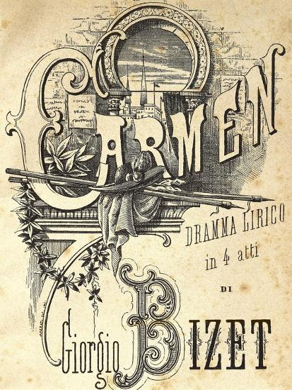 Title Page of the Italian Edition of the Libretto for Carmen Giclee Print  by Georges Bizet | Art com