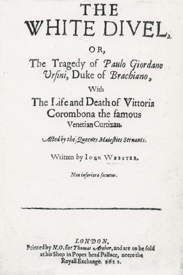 Title page of 'The White Devil' by John Webster, 1612--Giclee Print