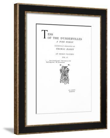 Title Page to 'tess of the D'Urbervilles' by Thomas Hardy, Edition Published in 1892--Framed Giclee Print
