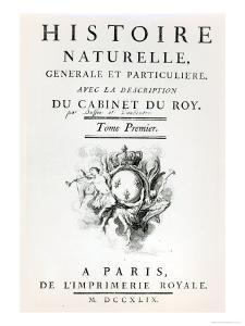 Titlepage of Histoire Naturelle, Generale et Particuliere by Buffon, Paris, 1749
