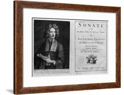 """Titlepage of """"Sonate a Tre"""" with a Portrait of Arcangelo Corelli (1653-1713)--Framed Giclee Print"""