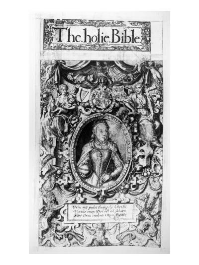 Titlepage of the Bishop's Bible, Pub. in 1568-English School-Giclee Print