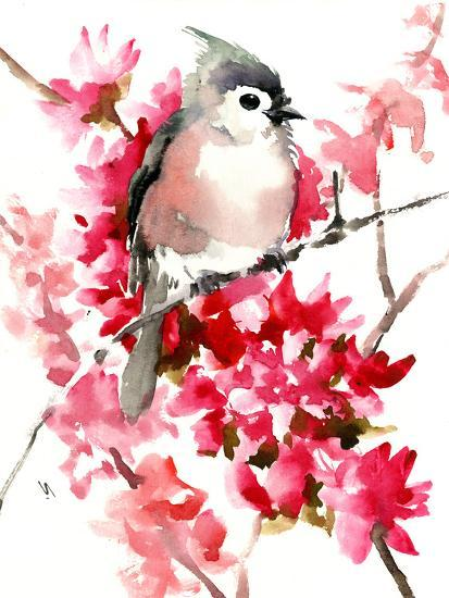 Titmouse And Spring Blossom Children Room 2 Art Print Suren Nersisyan Art Com