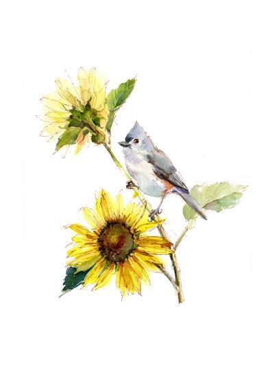 Titmouse with Sunflower, 2016-John Keeling-Giclee Print