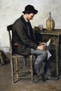 Reading Alone, 1878-1880 by Tito Lessi
