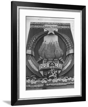 Tito Observing the Crowd of People During the Victory Day Parade-Nat Farbman-Framed Premium Photographic Print