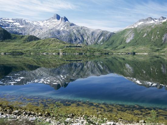Tjongsfjorden, on Arctic Circle, Kystriksveien Coast Road, Norway, Scandinavia-Tony Waltham-Photographic Print