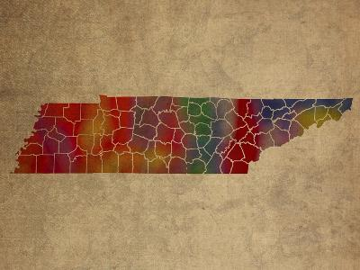 TN Colorful Counties-Red Atlas Designs-Giclee Print