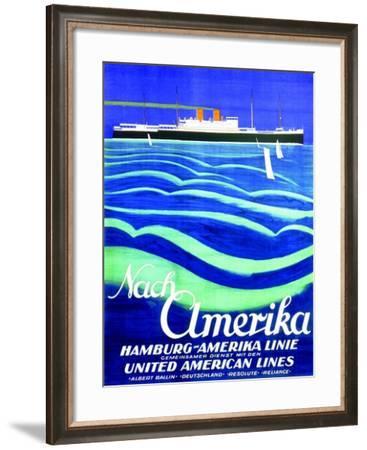 To America', Poster Advertising the Hamburg American Line, 1923--Framed Giclee Print