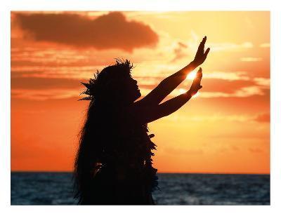 To Ask a Blessing: Hawaiian Hula Dancer at Sunset-Randy Jay Braun-Giclee Print