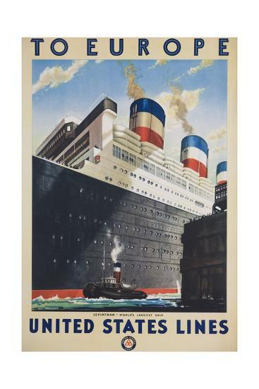 To Europe United States Lines Poster--Giclee Print