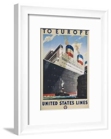 To Europe United States Lines Poster--Framed Giclee Print