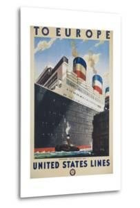 To Europe United States Lines Poster