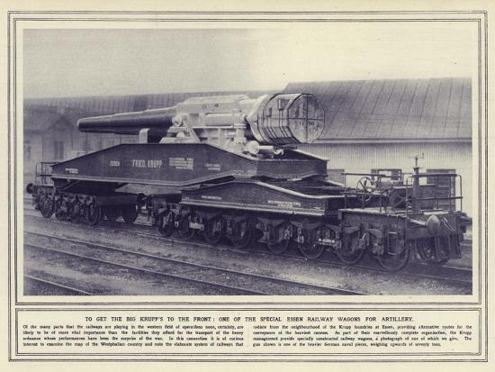 To Get the Big Krupp's to the Front, One of the Special Essen Railway Wagons for Artillery--Photographic Print