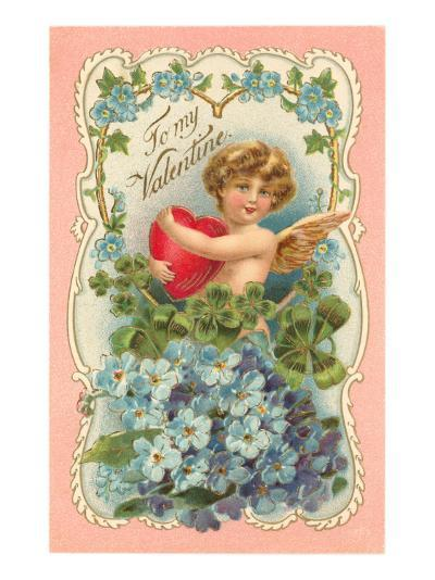 To My Valentine, Cupid and Heart--Art Print