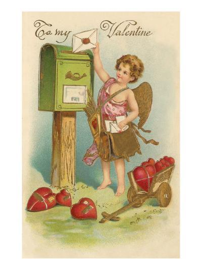 To My Valentine, Cupid Mailing Letter--Art Print