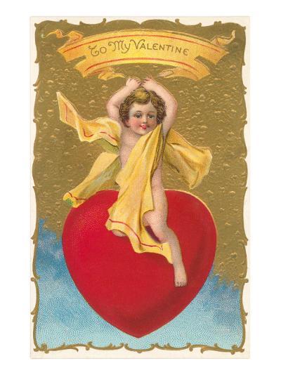 To My Valentine, Cupid on Heart--Art Print
