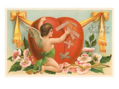To My Valentine, Cupid Repairing Heart--Art Print