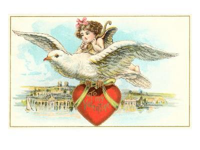 To My Valentine, Cupid Riding Dove--Art Print