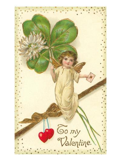 To My Valentine, Cupid with Clover--Art Print