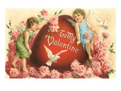 To My Valentine, Cupids and Heart--Art Print