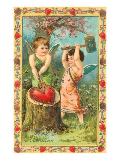 To My Valentine, Cupids Breaking Heart--Art Print