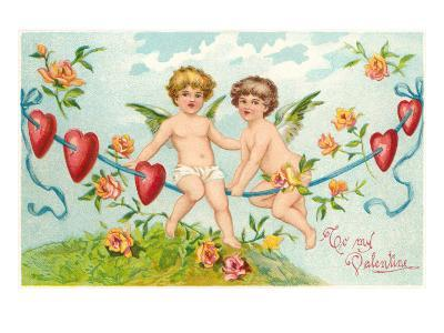 To My Valentine, Cupids on Rope--Art Print