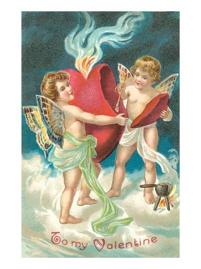 To My Valentine, Cupids Repairing Heart--Art Print