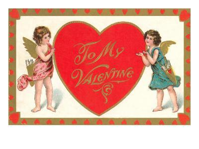 To My Valentine, Cupids with Heart--Art Print