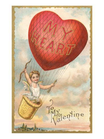 To My Valentine, Heart Balloon and Cupid--Art Print