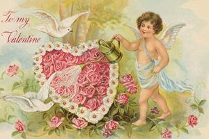 To My Valentine Postcard with Cherub Watering Flowers