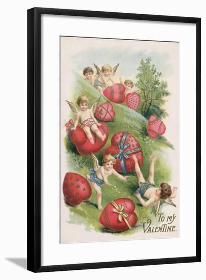 To My Valentine, Victorian Card--Framed Giclee Print
