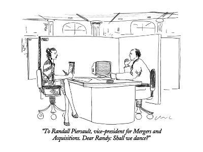 """""""To Randall Piersault, vice-president for Mergers and Acquisitions.  Dear ?"""" - New Yorker Cartoon-Richard Cline-Premium Giclee Print"""