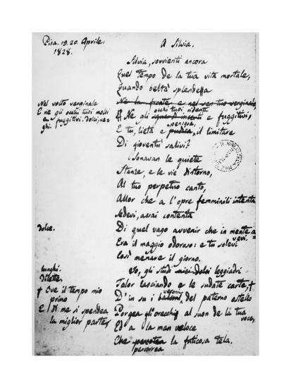 To Silvia-Giacomo Leopardi-Giclee Print