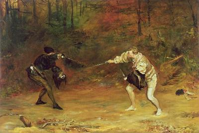 'To the Death: a Sword and Dagger Fight with One Hand Beats Cold Death Aside, and with the Other-John Pettie-Giclee Print
