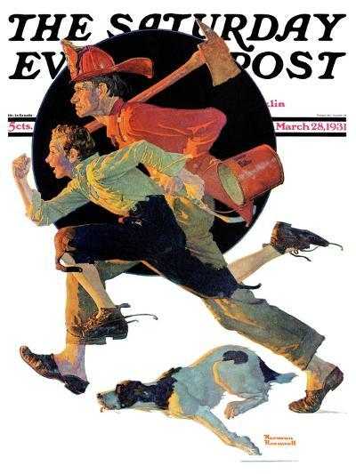 """""""To the Rescue"""" Saturday Evening Post Cover, March 28,1931-Norman Rockwell-Giclee Print"""