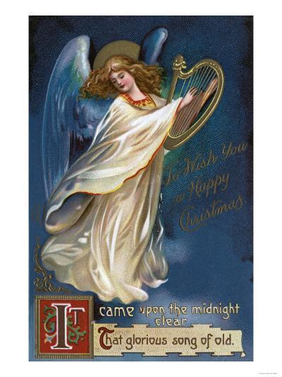To Wish You a Happy Christmas - Angel with a Harp-Lantern Press-Art Print