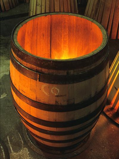 Toasting a New Oak Wine Barrel at the Demptos Cooperage, Napa Valley, California, USA-John Alves-Photographic Print