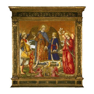 Tobias and Three Archangels, 1471 (Tempera, Oil, Gold and Silver on Panel)-Neri Di Bicci-Giclee Print