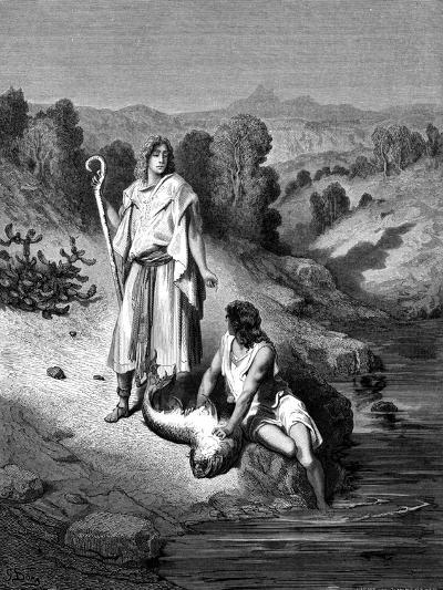 Tobias with the Archangel Raphael, 1865-1866-Gustave Dor?-Giclee Print