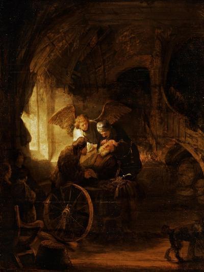 Tobit Heals His Father's Blindness-Rembrandt van Rijn-Giclee Print