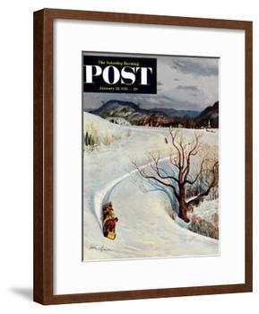 """Tobogganing"" Saturday Evening Post Cover, January 22, 1955-John Clymer-Framed Giclee Print"