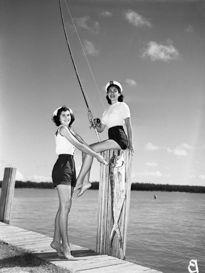 Toby Gerard and Barbara Wartell Strike Fishy Poses, April 1951--Photographic Print