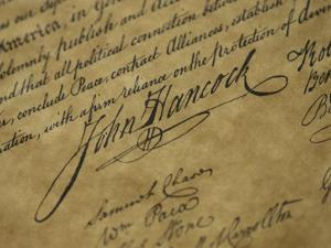 A Close View of John Hancocks Signature on a Reproduction of the Declaration of Independence by Todd Gipstein