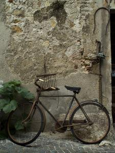 Antique Rusted Bicycle Leans against a Stone Wall, Asolo, Italy by Todd Gipstein